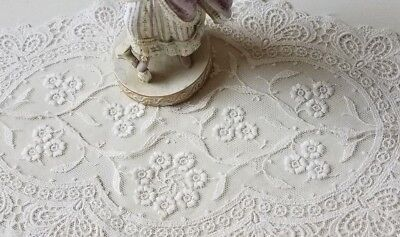 Antique Schiffli Tambour Lace Doily Embroidered Flower Oval Table Dresser Scarf