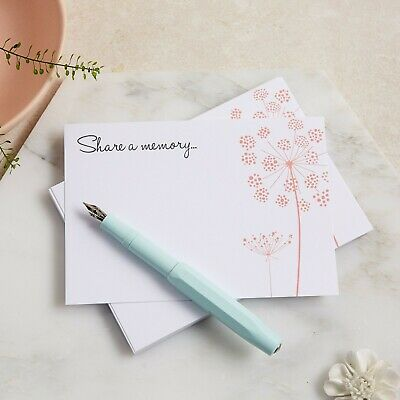 25 'Share a Memory' Blush Wildflower A6 Funeral Remembrance Cards - Angel & Dove