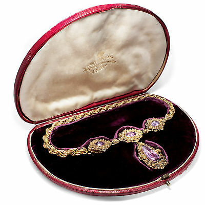Wunderbares Amethyst Collier in Gold, Cannetille um 1825 / Biedermeier Georgian