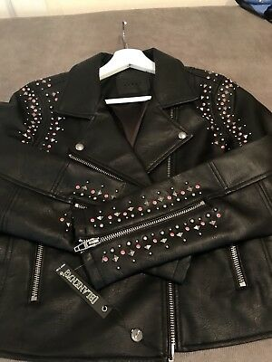 Blank NYC black moto jacket with red studs