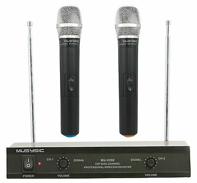 MUSYSIC Professional Dual Channel VHF Handheld Wireless Microphone System