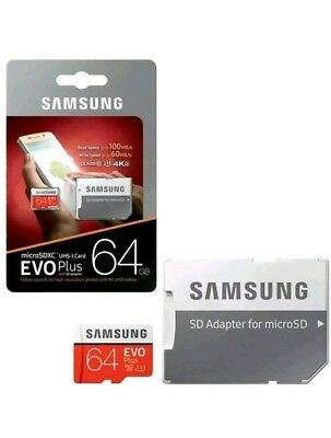 Samsung Plus 64GB micro SD SDHC Class 10 UHS-3 memory card Upto 100MB/S +Adapter
