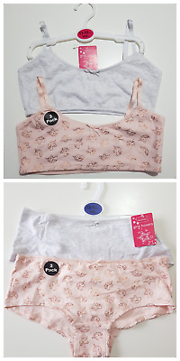edb018e76b 2 X GIRLS PRIMARK UNICORN PINK   GREY CROP TOP   FIRST BRA AGE 7 ...