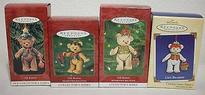 Set of 4 Hallmark GIFT BEARERS Jointed Porcelain Teddy Bears 1999 - 2002