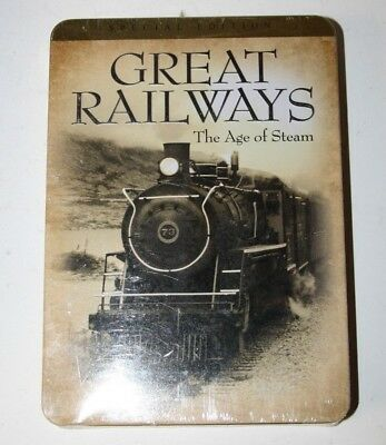 Great Railways: The Age Of Steam DVD Region 1 New in sealed Tin case