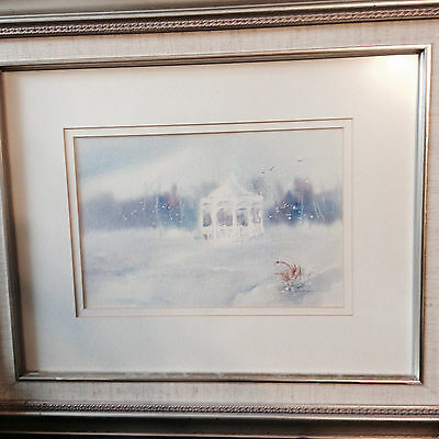 """Lovely Original Water Color """"The Cold Gazebo"""" Painting -Signed And Framed"""