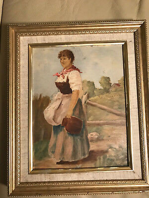 "Antique ""Female With Water Jug Scene"" Oil On Board Painting - Framed"