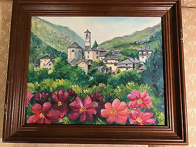 "Nice ""Village In the Valley Scene"" Oil On Board Painting - Signed And Framed"