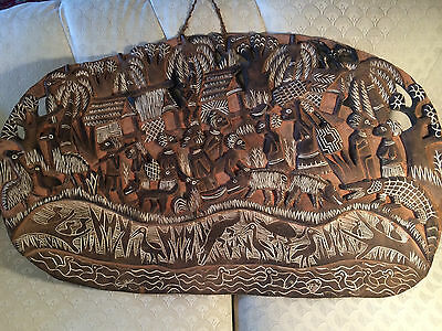 Very Large Antique Sepik River Carved African Wood Plaque With Figures & Animals