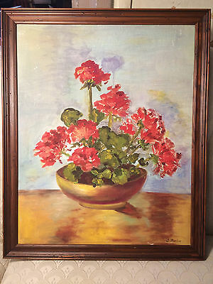 "Nice J Barlow 'Floral Still Life With Geraniums"" Oil Painting- Signed and Framed"