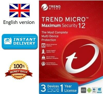 Trend Micro Maximum Security 12 2018 1 Year 3 Devices **Instant Delivery**