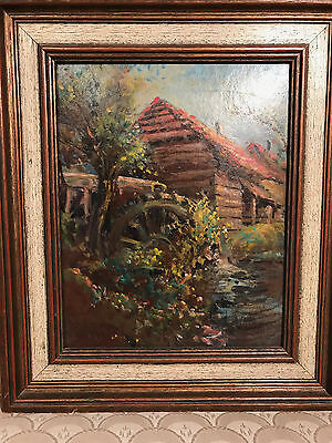 "Nice George A Newman (1875-1965) ""Grist Mill Scene"" Oil Painting - Signed/Framed"