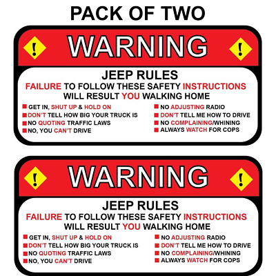 Warning Jeep Rules Instructions Safety Funny Adhesive Sticker Decal