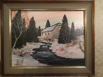 "Nice Charles Thomas Garland ""Winter Mill And Stream"" Oil Painting- Signed/Framed"