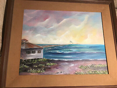 """Large Rochelle """"Florida Beach And Ocean Scene"""" Acrylic Painting - Signed/Framed"""
