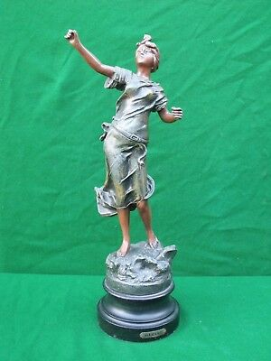 Vintage coloured spelter figure of a young wom