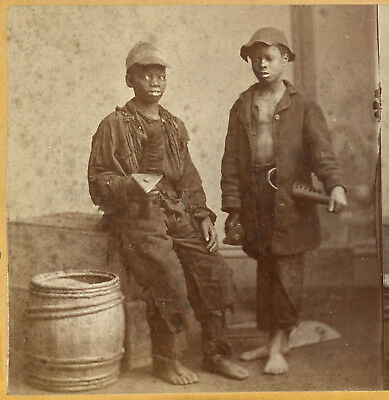 Black African American Chimney Sweeps Stereoview By Barnard Of South Carolina
