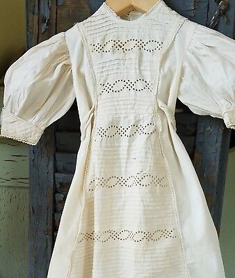 Antique 1880s Christening Gown Ayrshire Embroidery Lace Baby Doll Dress Peg Hang