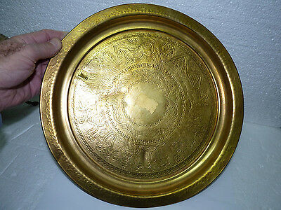 Old Islamic Egyptian Brass Plate Camels Pyramids Repousse Ornamentation D 30.7cm