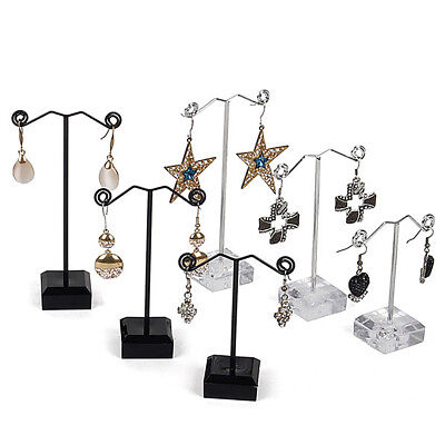 US 3 Pcs Alloy Earrings Display T-Shape Stand Showcase Jewelry Organizer Holder