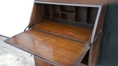 Vintage Small school classroom Writing Bureau Home Office books shlef furniture