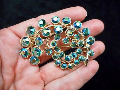 Authentic Vintage 1950's Iridescent Green Swirl Motif Brooch/Pin