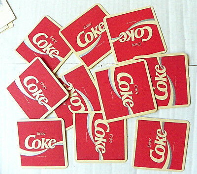 "(Lot Of 10) ""enjoy Coke"" With Wave Thru ""e"" Square Coasters"