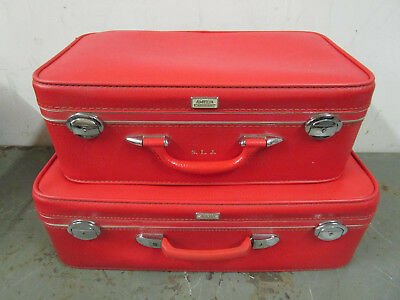Vintage red Amelia Earhart pair of suitcases mid century retro travel luggage
