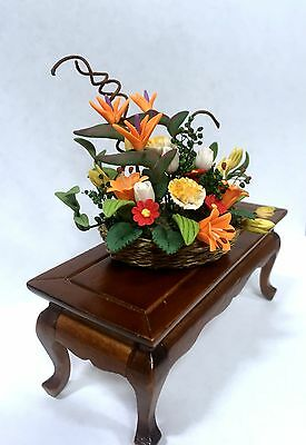 Dollhouse Miniature Floral Arrangement Red Roses on Stand ~ F2046C