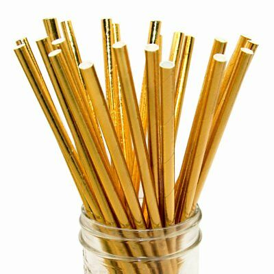 20 x Gold Foil paper straws Eco friendly,bio degradable,wedding, party,cocktails
