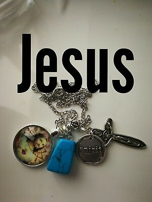 Code 375 Jesus Blue Howlite turquoise charged  Infused Necklace Catholic church