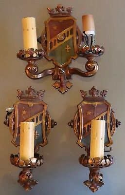 1900's Cast Bronze Kings Crown & Shield Arts & Crafts 3pc Sconce Set 1 and 2 arm
