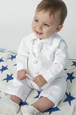 Baby Boys 4 Piece Christening Outfit / Christening Suit White Formal Dress