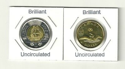 2012 Canada The War of 1812 HMS Shannon $2 Twoonie & the $1 Olympic Lucky Loonie