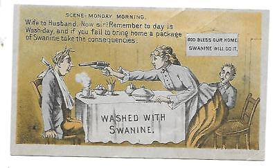 Victorian Trade Card SWANINE SOAP Flower City Soap Monday Morning
