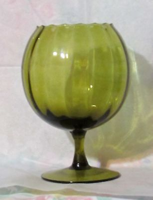 Empoli Brandy Glass Olive Green Snifter Vase 7 Tall Italy Mid