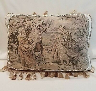 Antique Tapestry Pillow Peasant Women Child Gray Tan Pink Beige, Newly Made