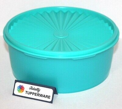Tupperware Servalier Canister 8 Cups Stacking Teal Blue Treasures of the Sea