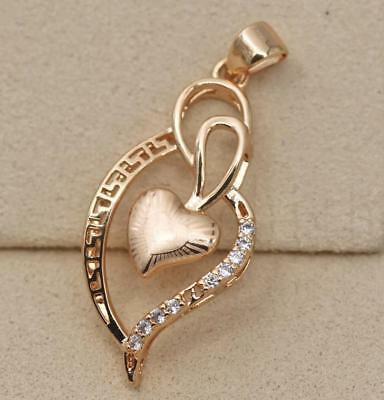 18K Gold Filled - Hollow Sweet Heart Leaf Swirl Topaz Laser Carved Lady Pendant