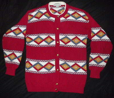 Vintage IZOD CLUB 100% Cotton Hand Intarsia Knitted Christmas Sweater EUC
