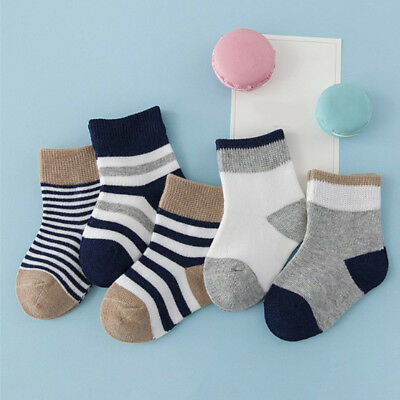 5 Pairs Baby Socks Boy Girl Stripe Cotton Socks Soft Newborn Toddler Kids Socks