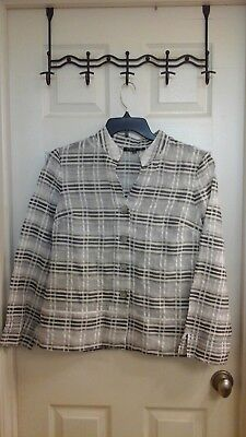 Jones New York,  Women's size 12 Blouse,  Sheer, White & Grays, crinkle, EUC