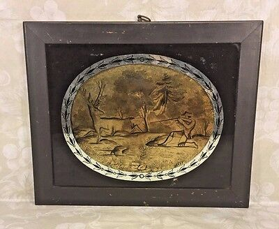 Antique Early 19th Century Reverse Painting of Hunting Scene w/ Hunter & Deer