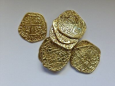 Pirate Treasure Coins Replica Metal New Loot 2cm Reproductions Gold colour X 10