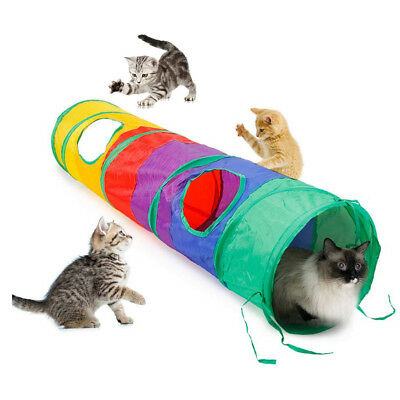 AU Foldable Rainbow Cat Play Tunnel 2 Holes Collapsible Kitten Pet Playing Toys