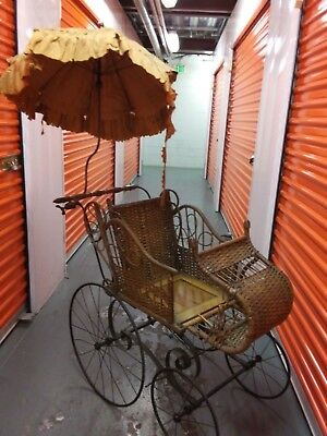 Victorian  Gendron Baby Carriage Wicker Stroller Buggy umbrela 1800's 19th