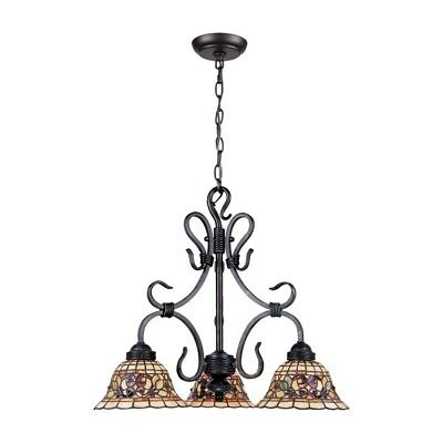 Tiffany Buckingham 3-Light Chandelier In Vintage Antique With Tiffany Style G...