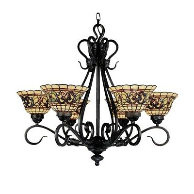 Tiffany Buckingham 6-Light Chandelier In Vintage Antique With Tiffany Style G...