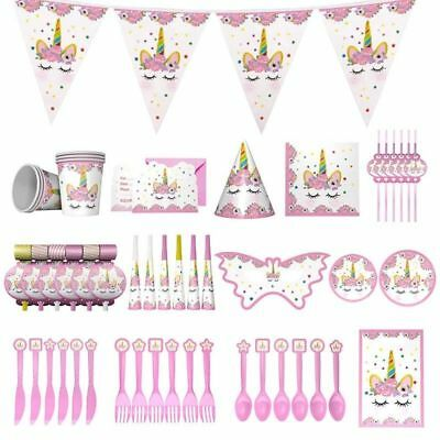Magical UNICORN Girls Birthday Party Tableware Plates Cups Napkins Tablecover US