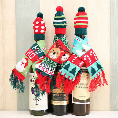 Table Decor Christmas Wine Bottle Cover Hat Scarf Sets Xmas Santa Reindeer Party